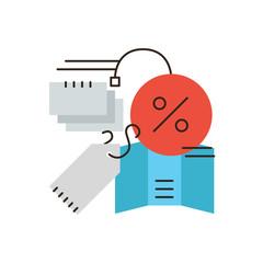 Discount sales flat line icon concept