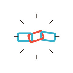 Link building flat line icon concept