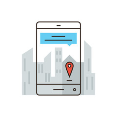 Virtual city map flat line icon concept