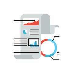Financial statistics flat line icon concept