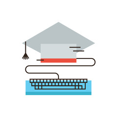 Online graduation flat line icon concept