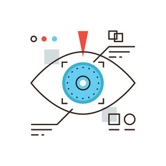 Cyber eye flat line icon concept