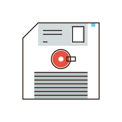 Floppy disk flat line icon concept