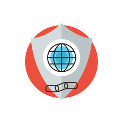 Global web protection flat line icon concept
