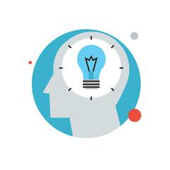 Success idea flat line icon concept