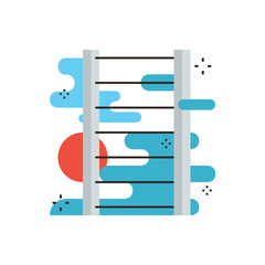 Ladder of success flat line icon concept