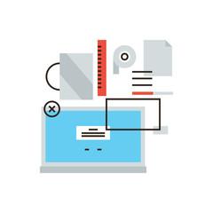 Office desktop items line icon concept