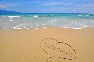 Vietnam sign in the beach