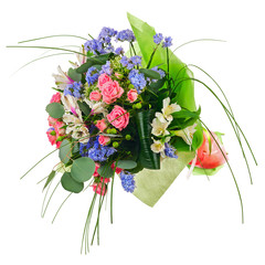 Flower bouquet from multi colored roses, lilies and other flower