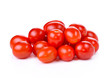 Pile of red grape tomatoes isolated on white background