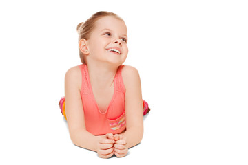 Adorable little girl having fun smiling, isolated on white