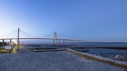 Vasco da Gama Bridge over the tagus river timelapse, Lisbon