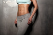 Fitness female woman with muscular body, do her workout, abs, ab - 81804223