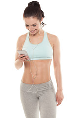 fitness girl with a smartphone on a white background, sport