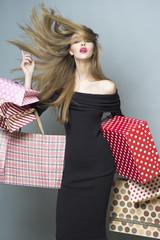 Fashionable shopping girl
