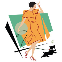 Vector illustration. Girl with a dog for a walk.