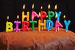 Happy Birthday Kerzen brennen auf Kuchen - 81804612
