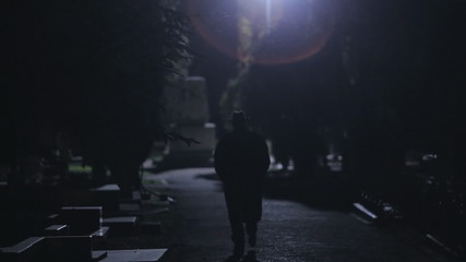 Mysterious man in black cloak and hat going at night in the park