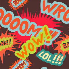 Seamless pattern with  comic sound effects