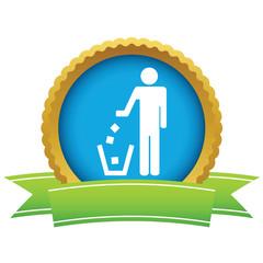 Gold throw garbage logo