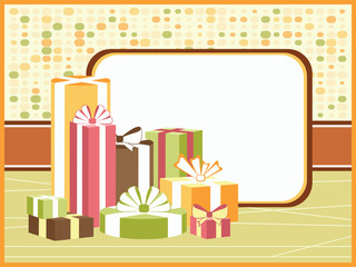 Green background with gifts and copy space