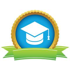 Gold graduate cap logo