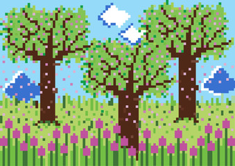 pixelated vector spring background