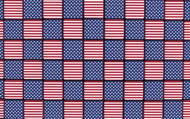 American flag themed cubes floor