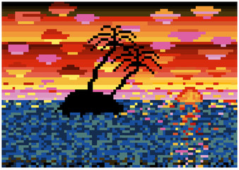 pixels vector tropical island in sunset