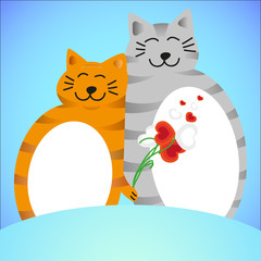 two lovers cat with flowers of hearts