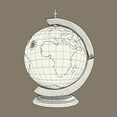 ancient geographical globe illustration