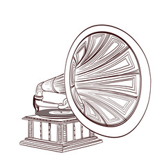 hand drawn gramophone on white