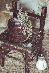 Homemade Chocolate and Coconut Cake on a Vintage Chair