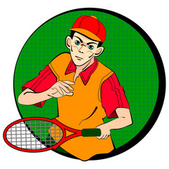 drawing of tennis man player symbol