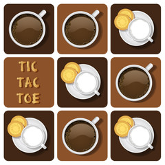 Tic-Tac-Toe of milk and chocolate
