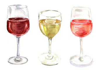 A set of watercolour wine glasses on white background