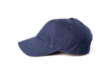 Dark blue cap on the head ready for branding.