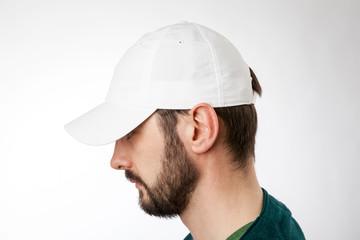 White cap on the head ready for branding.