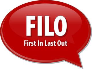 FILO acronym word speech bubble illustration