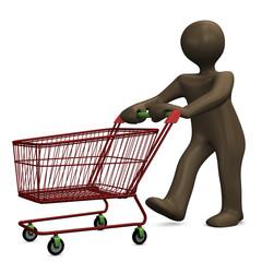 Einkaufswagen, Cartoon-Figur, 3D Illustration