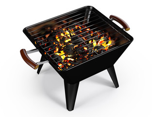 Rectangle Charcoal Grill on White