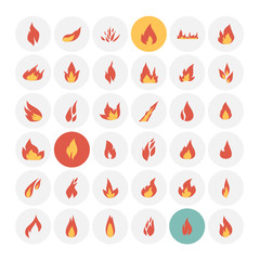 Fire icons. Vector Illustration.
