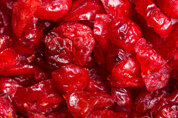 Extreme close-up of dried cranberries