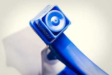 Close-up of nozzle on spray bottle cleaner
