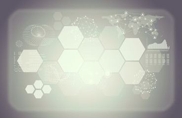Colorless abstract background with graphical charts and