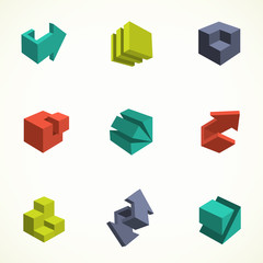 Set of 3d icons. Vector illustration with abstract arrows and