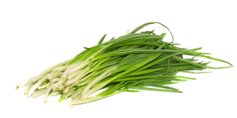 Fresh green onions isolated on white