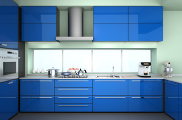 Front view of modern kitchen interior with blue color theme.