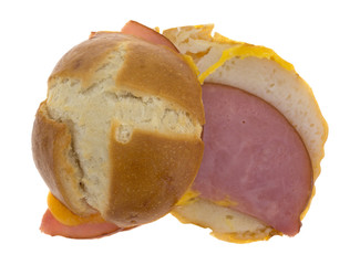 Open Faced Ham And Cheese Small Sandwich Top View
