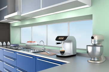Modern kitchen interior with stylish coffee maker, food mixer.